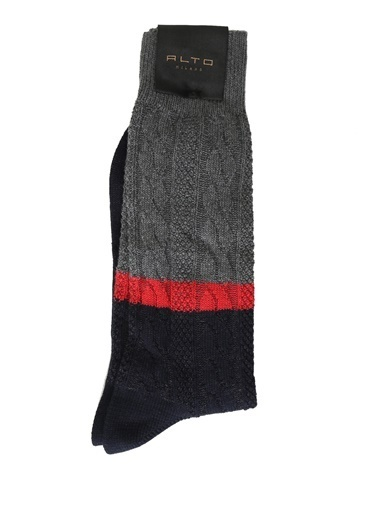 Alto Socks Alto Socks  Örgü Dokulu Erkek Çorap 101560332 Gri